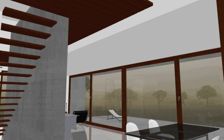 Blick von der Küche in den Wohn-Essbereich